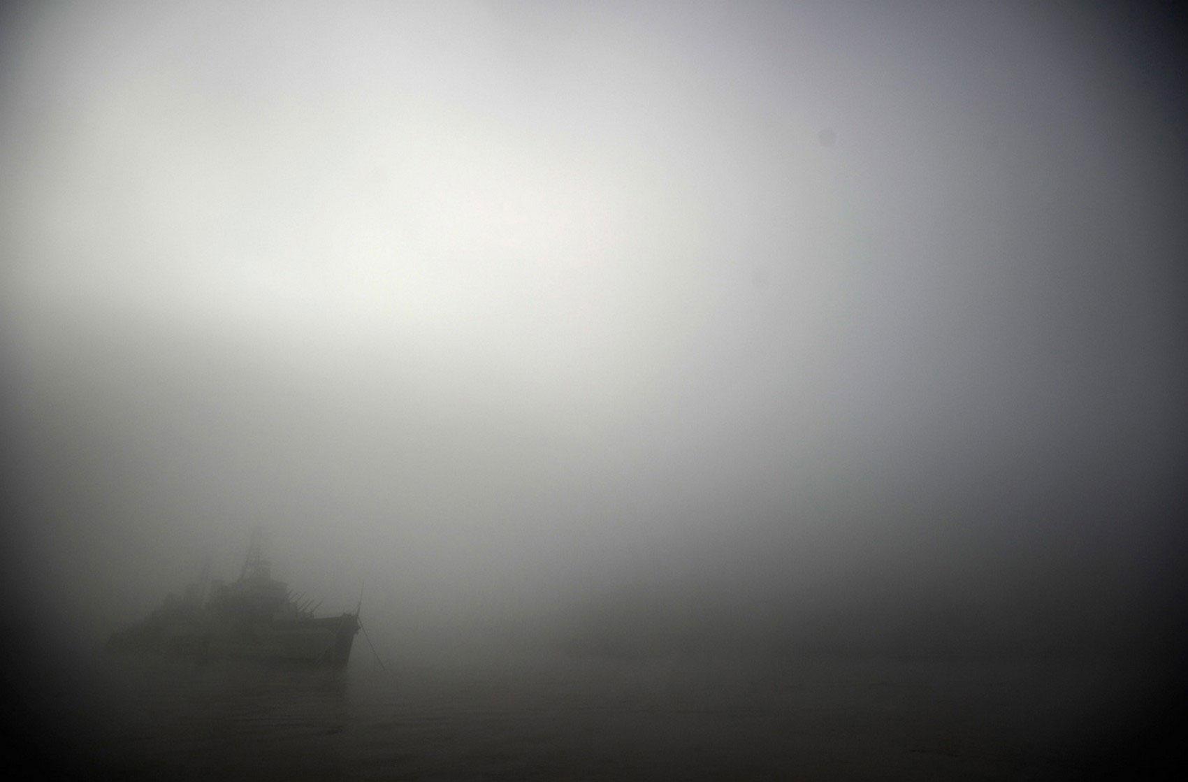 туман на реке, фото