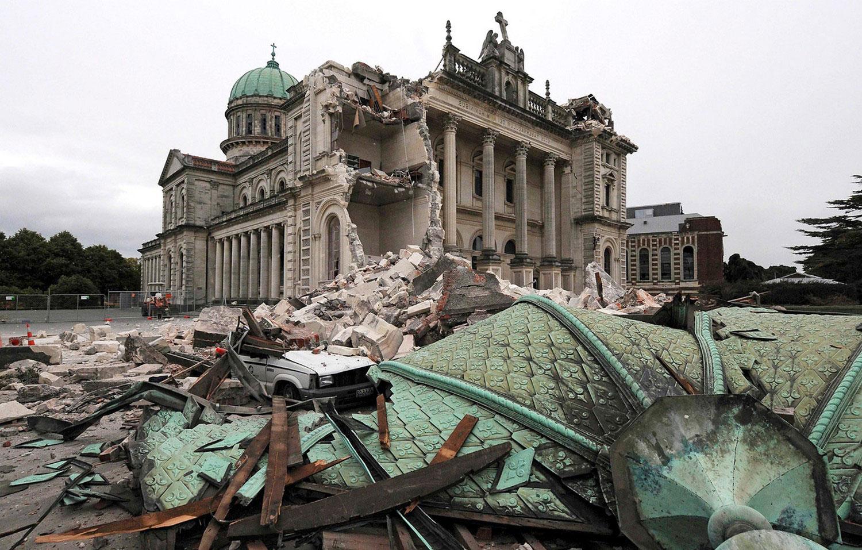 Обрушение части Католического Собора, фото Новой Зеландии