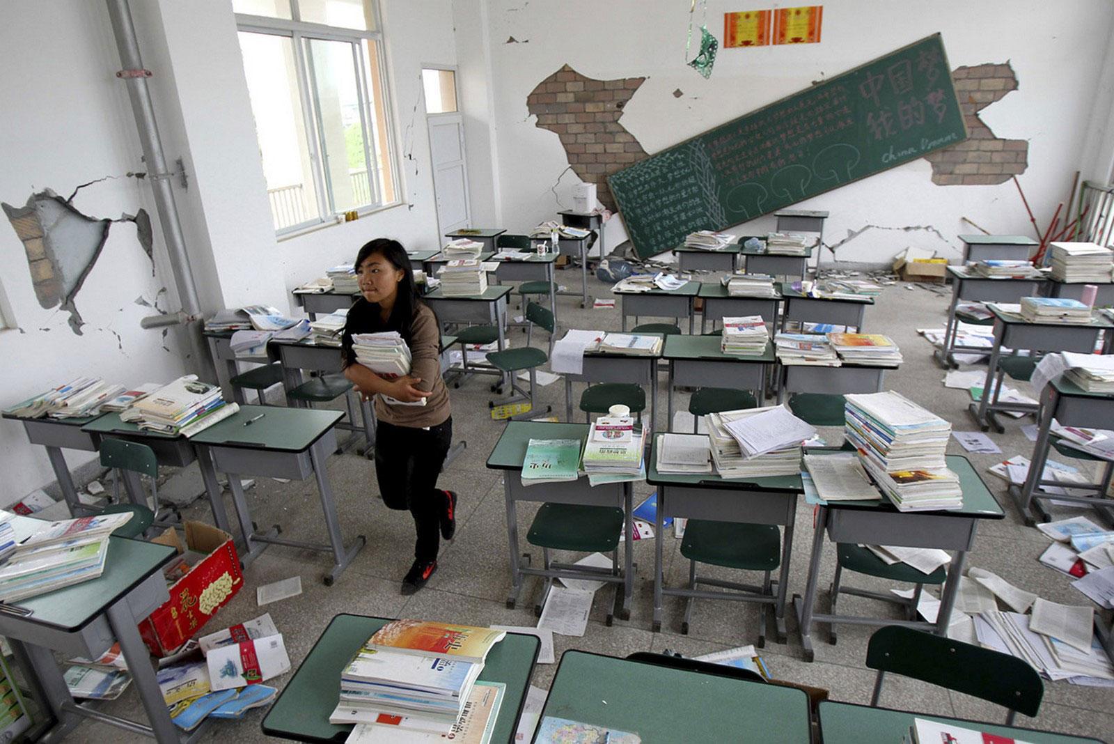 разрушенный стихией класс