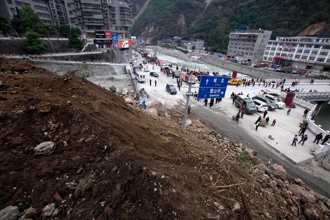 оползень после землетрясения
