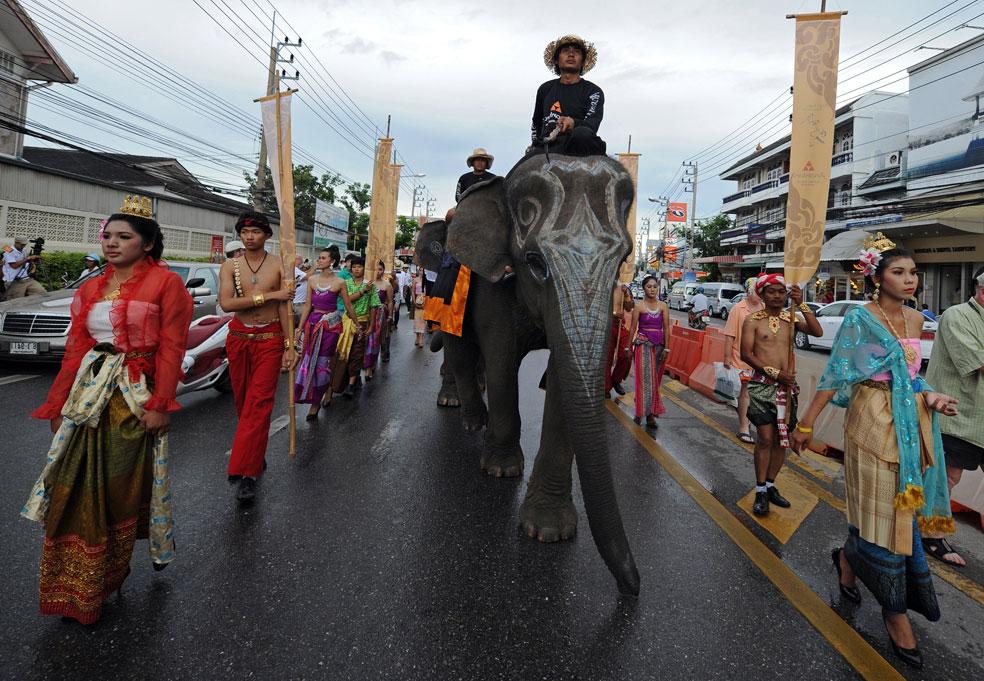 Парад слонов в Юго-Восточной Азии, фото