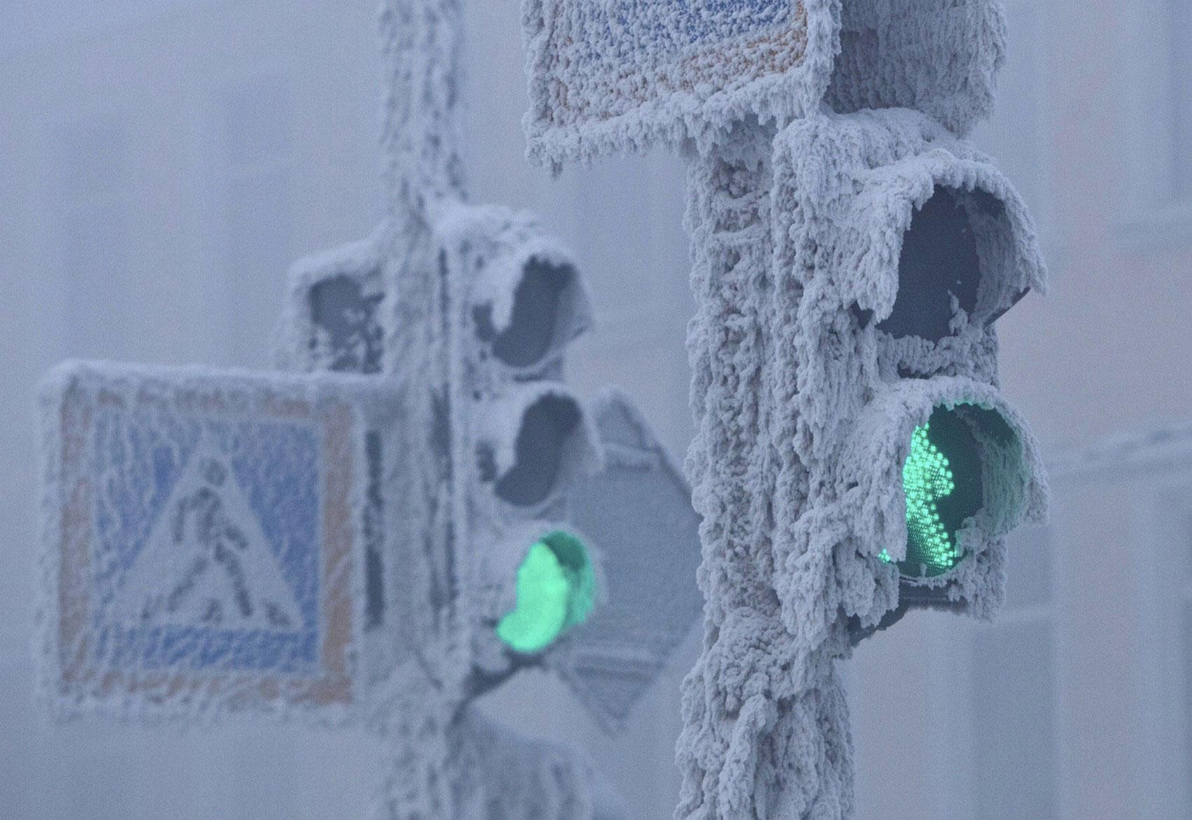 светофоры Якутска в инее